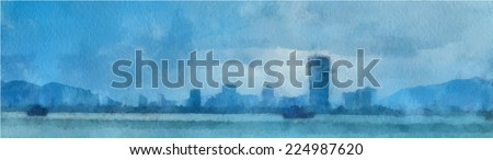 Watercolor painting of the sea with yachts and city. EPS 8 vector