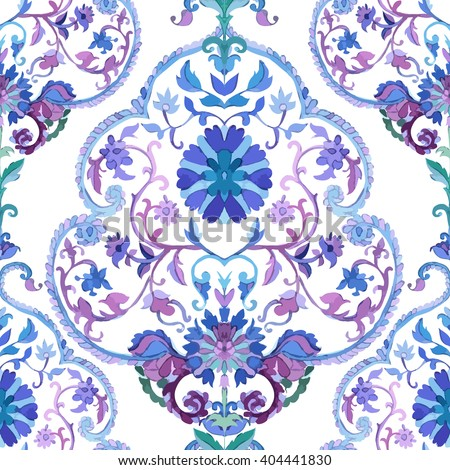 Watercolor Paisley Seamless Background on White. Cold Colors. Indian, Persian or Turkish Art. Vector Handdrawn Pattern. Indian watercolor paisley seamless pattern. Paisley vector pattern. - stock vector