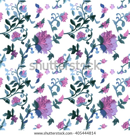 Watercolor Paisley Seamless Background on White. Cold Colors. Indian, Persian or Turkish Art. Vector Handdrawn Pattern. Floral seamless paisley pattern. - stock vector