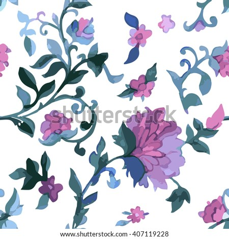 Watercolor Paisley Seamless Background on White. Cold Colors. Indian, Persian or Turkish Art. Vector Handdrawn Pattern. Traditional oriental seamless paisley pattern. Vintage flowers background.  - stock vector