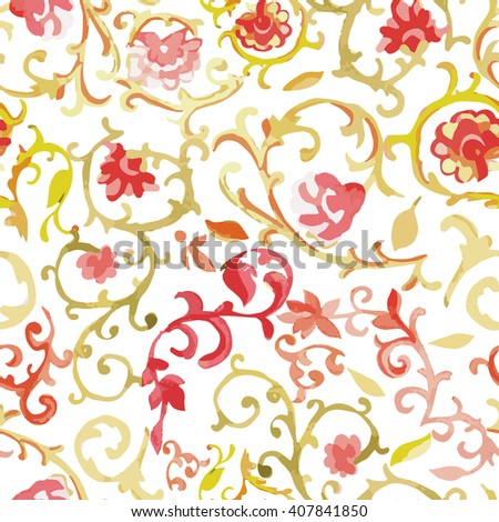 Watercolor Paisley Seamless Background on White. Cold Colors. Indian, Persian or Turkish Art. Vector Handdrawn Pattern. Vector watercolor seamless pattern illustration. - stock vector
