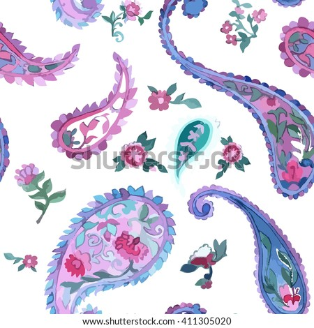 Watercolor Paisley Seamless Background on White. Cold Colors. Indian, Persian or Turkish Art. Vector Handdrawn Pattern. - stock vector