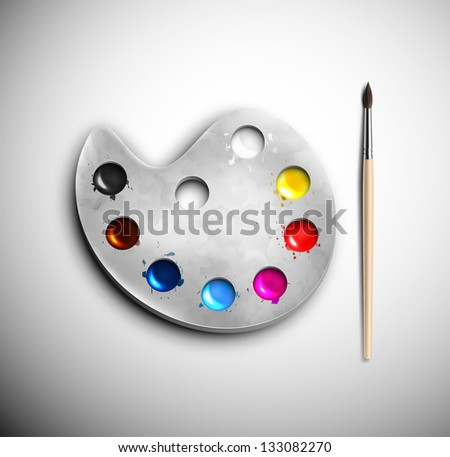 Watercolor palette with brush. Eps 10 - stock vector