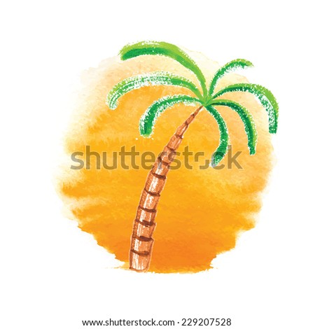 Watercolor palm tree against the sun. Vector logo illustration. - stock vector