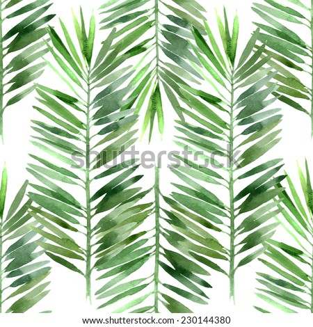 watercolor palm tree leaf seamless pattern - stock vector