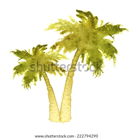 watercolor palm trees over white background - stock vector