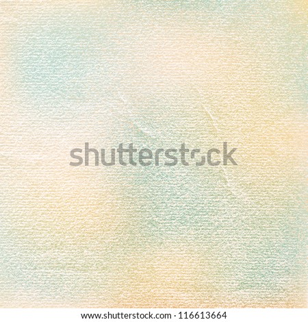 Watercolor paper vintage texture with damages, folds and scratches. Old blank background with space for text. Green, blue, brown, beige color spots. Vector illustration design element in 8 eps - stock vector
