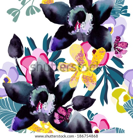 Watercolor pattern of exotic flowers. Flower orchid.  - stock vector