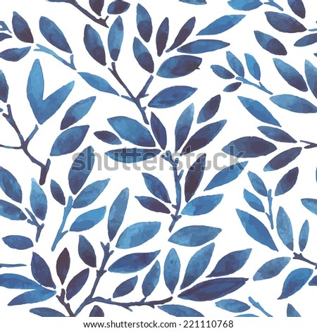 watercolor pattern with leafs