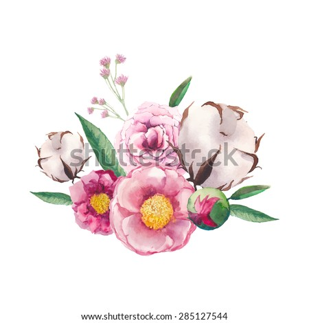 Watercolor peony, cotton, wild flowers and roses bouquet. Artistic leaves, flowers and branch combination. Vector hand drawn botanical illustration. Isolated flowers posy on white background - stock vector
