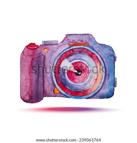 Watercolor photo camera. Isolated hand drawn bright object. Vector illustration - stock vector
