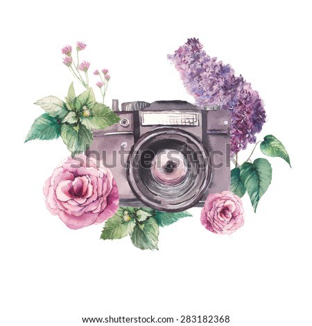 Watercolor photo label. Hand drawn photo camera surrounded by various flowers: roses, lilac, leaves and branches. Vector illustrations collage - stock vector