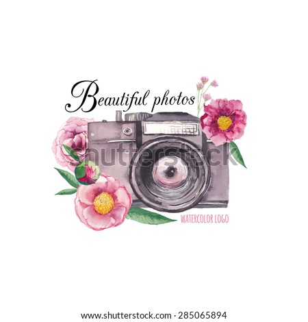 Watercolor photo label. Hand drawn photo camera surrounded by various flowers: roses, peony, leaves and branches. Vector collage logo - stock vector