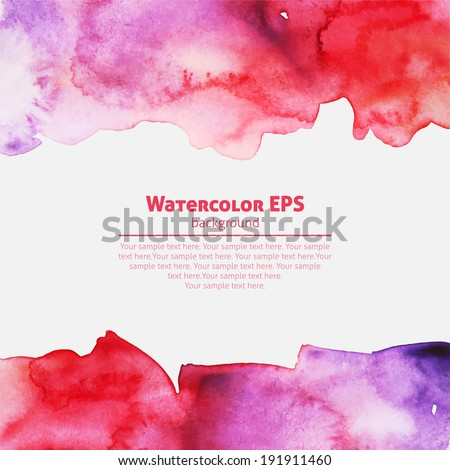 Watercolor pink abstract frame - stock vector