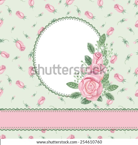 Watercolor pink  roses bouquet,label,ribbon,floral pattern.Hand drawn doodle sketchy,watercolor decor.Wedding,holiday invitation,card.Vintage Vector background,cover.Design template - stock vector