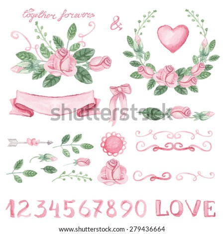 Watercolor pink roses flowers,green leaves vector set with numbers. Hand painted  floral,decor elements.Holiday,wedding Vintage Design element for summer wedding,spring congratulation card,invitation. - stock vector