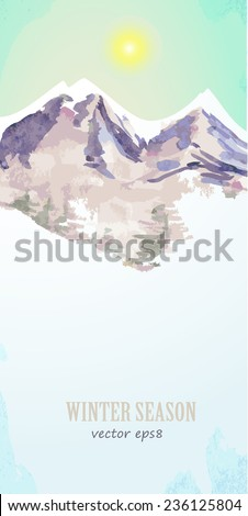 watercolor poster with mountain landscape for your design - stock vector