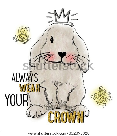 watercolor rabbit illustration with crown for apparel  - stock vector