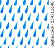 Watercolor rain drops seamless pattern. Bright blue watercolor stains repetitive background. Abstract water blobs wallpaper. EPS10 vector abstract background. Isolated on white. - stock vector