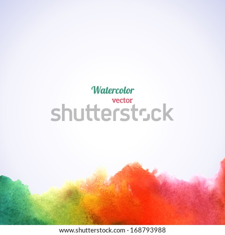 Watercolor rainbow border. Vector illustration. Grunge paper template. Water, wet paper. Blobs, stain, paints blot. Composition for scrapbook elements. Invitation or greeting card design. - stock vector