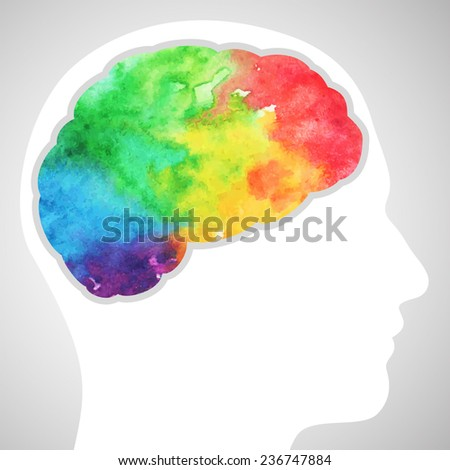 Watercolor rainbow brain - stock vector