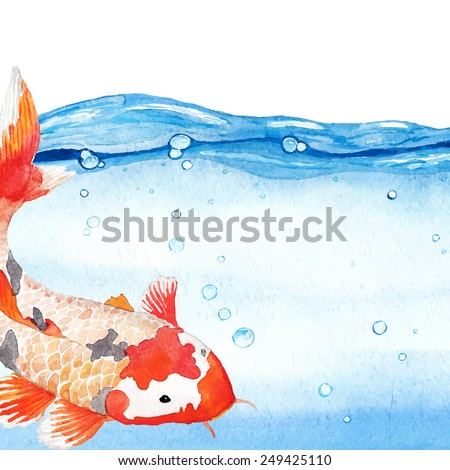 Watercolor rainbow carp in clear water. Hand drawn natural artwork. Vector illustration about Japan - stock vector