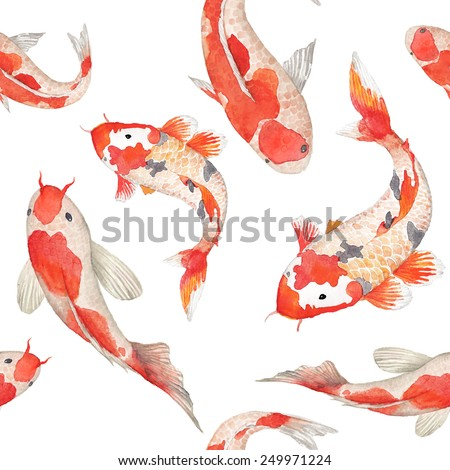 Watercolor rainbow carp pattern. Seamless oriental texture with isolated hand drawn fishes. Underwater wildlife repeating background in vector. Artistic illustration - stock vector