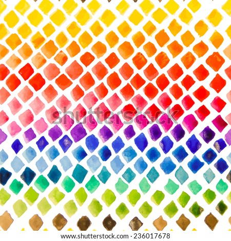 Watercolor rainbow colors hand painted seamless pattern. Vector abstract background. - stock vector