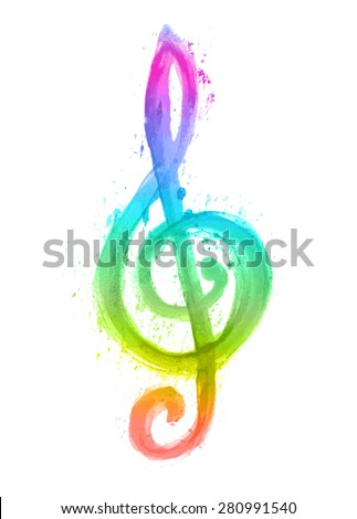 watercolor rainbow treble clef g on white - stock vector