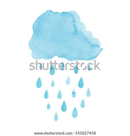 Watercolor rainy cloud. Vector illustration - stock vector