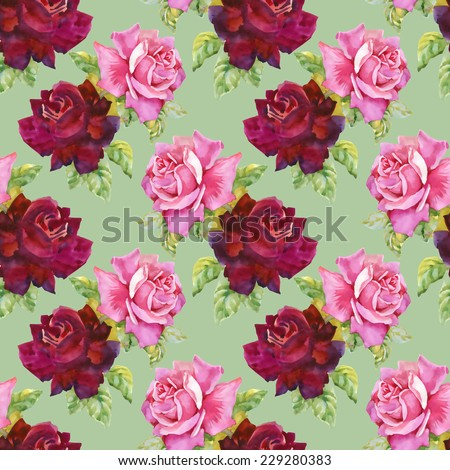 Watercolor red and pink roses seamless pattern.on green background vector illustration