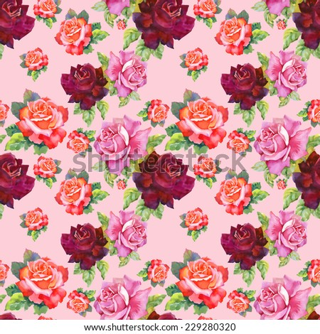 Watercolor red and pink roses seamless pattern.on pink background vector illustration