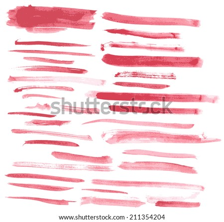 Watercolor red ink brush strokes vector set  - stock vector