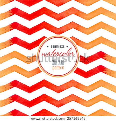 Watercolor red, yellow striped seamless vintage background on the white  - stock vector