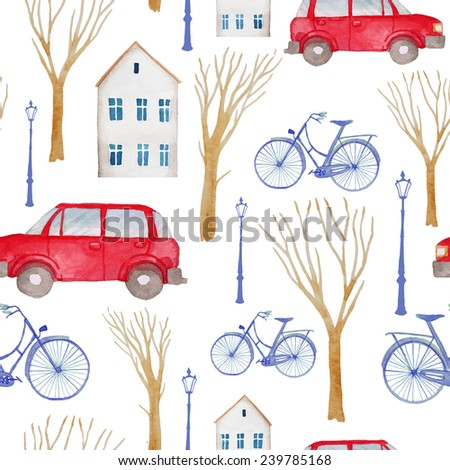 Watercolor retro town pattern. Seamless texture with buildings, trees, lamps, vintage cars and bicycles. Artistic background  - stock vector