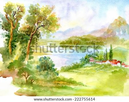 Watercolor river nature landscape vector illustration - stock vector