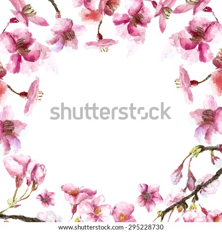 watercolor round frame cherry blossom hand draw cherry blossom sakura branch and flowers vector