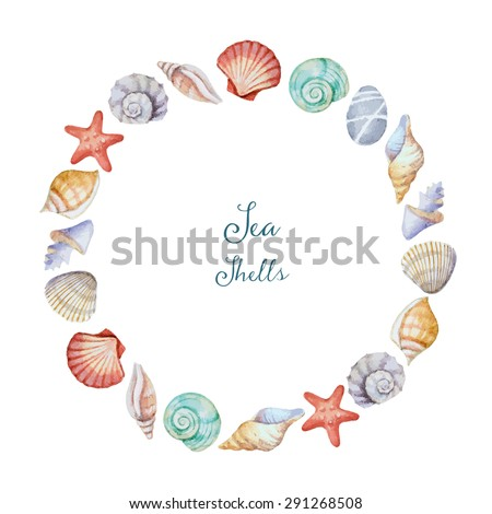 Watercolor round frame of sea shells, vector illustration. - stock vector