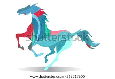 watercolor running horse - stock vector