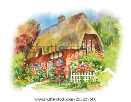 Watercolor rural house in green summer day vector illustration