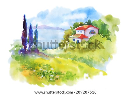 Watercolor rural house in green summer day vector illustration - stock vector