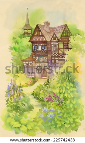 Watercolor rural landscape with house and tower vector illustration