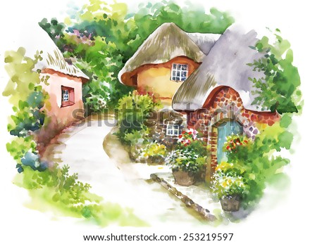 Watercolor rural village in green summer day vector illustration