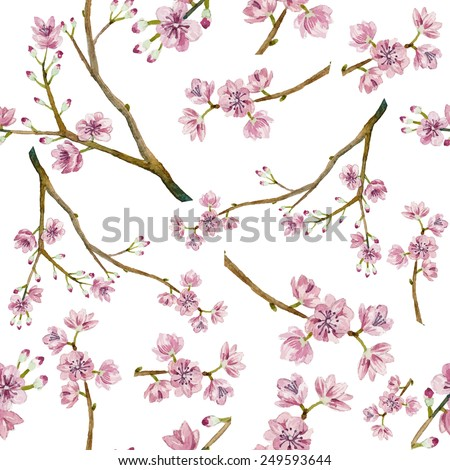 Watercolor sakura pattern. Seamless natural texture with blossom cherry tree branches. Hand drawn japanese flowers on white background - stock vector