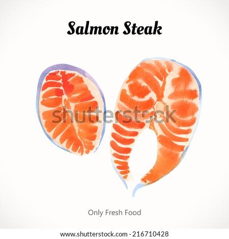 Watercolor salmon steak. Cutting the fish. Sea food fresh. Handmade painting. - stock vector