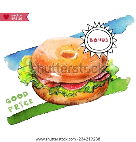 watercolor sandwich, all elements on a separate layer - stock vector