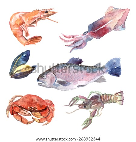 Watercolor sea food set with shrimp mussel fish crab isolated vector illustration - stock vector