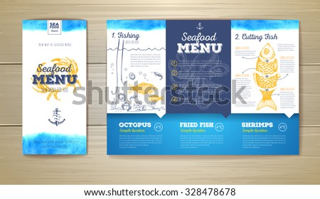 Watercolor Seafood menu design. Corporate identity. Document template - stock vector