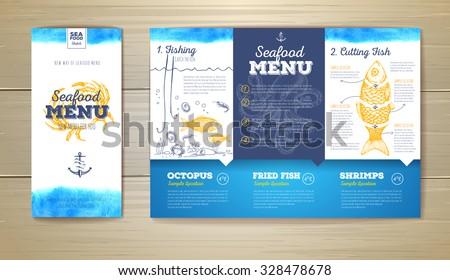 Watercolor Seafood menu design. Corporate identity. Document template