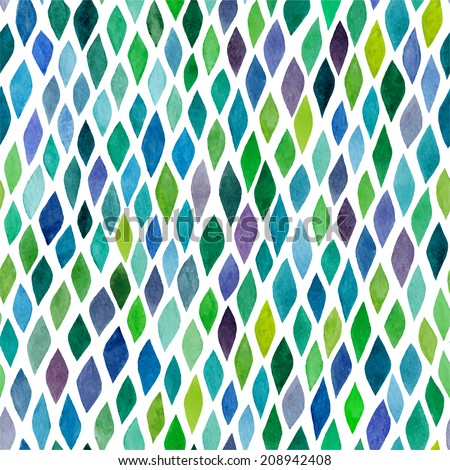 Watercolor seamless abstract hand-drawn pattern, endless modern background, abstract seamless repeat pattern with rhombs - stock vector